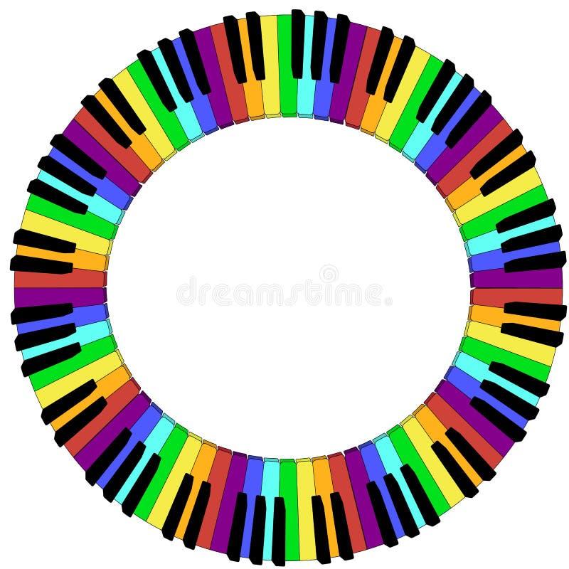 Runda färgad ram för pianotangentbord vektor illustrationer