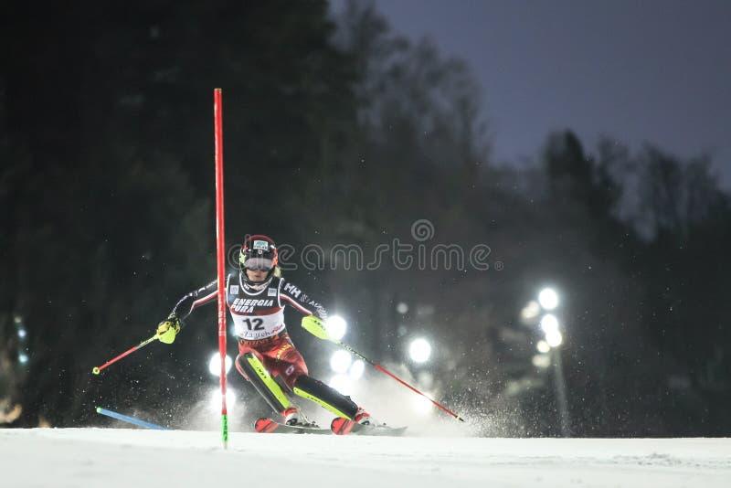 Runda för slalom andra för damer för snödrottningtrofé 2019 royaltyfria bilder