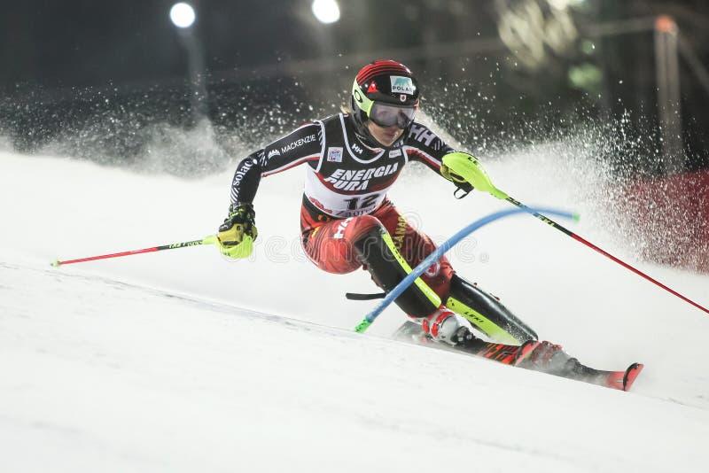 Runda för slalom andra för damer för snödrottningtrofé 2019 arkivbilder