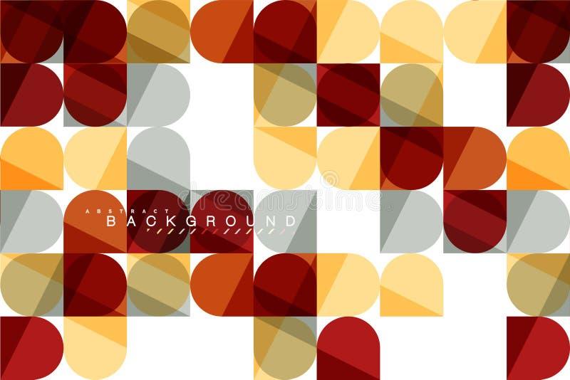 Runda fyrkantiga geometriska former på vit, bakgrund för tegelplattamosaikabstrakt begrepp royaltyfri illustrationer