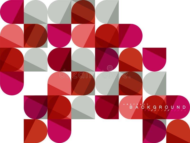 Runda fyrkantiga geometriska former på vit, bakgrund för tegelplattamosaikabstrakt begrepp stock illustrationer
