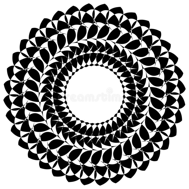 Runda geometriska beståndsdelar, roterande utstråla formar på whi royaltyfri illustrationer