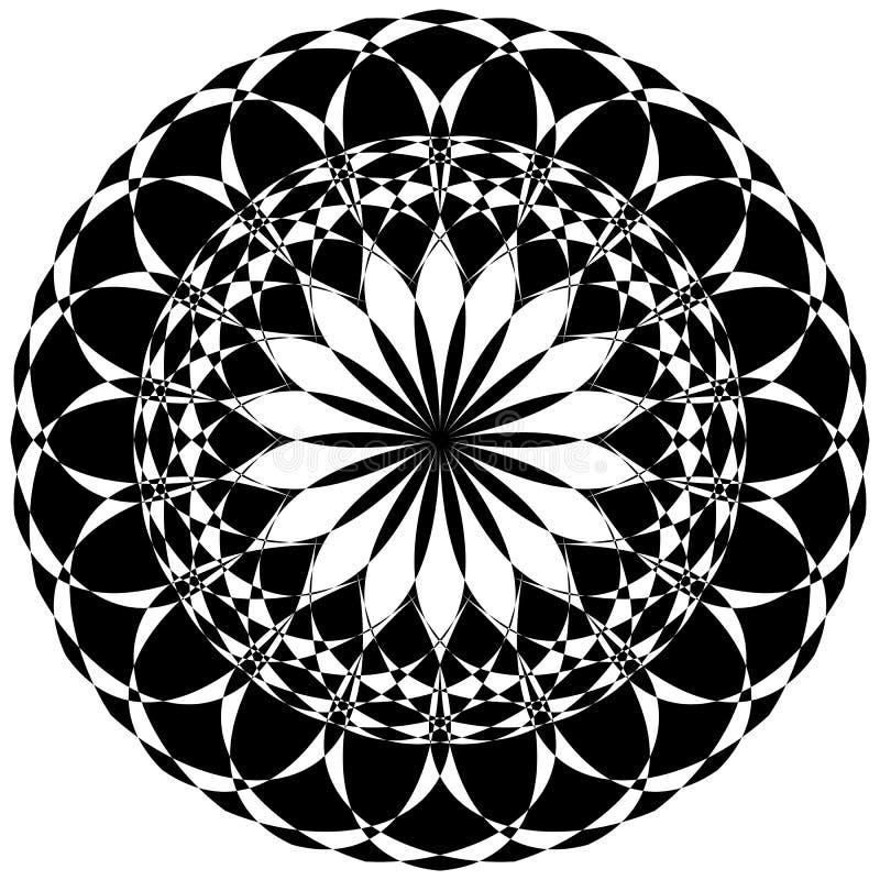 Runda geometriska beståndsdelar, roterande utstråla formar på whi vektor illustrationer