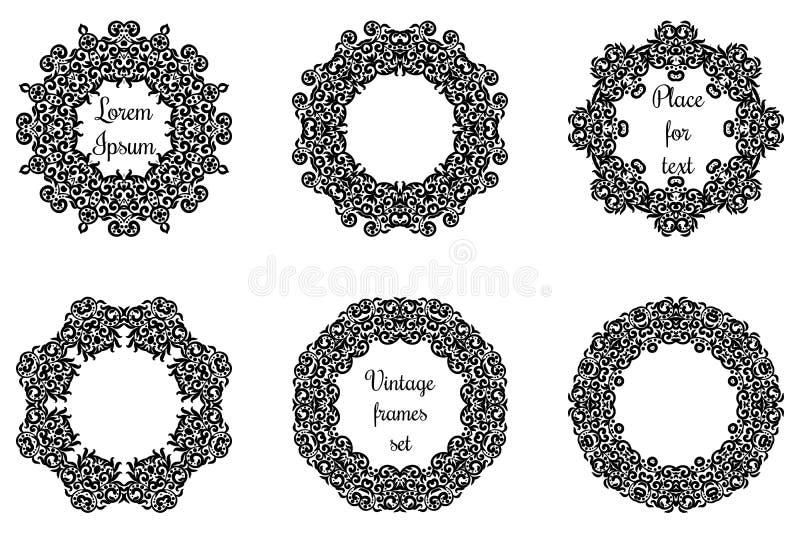 Runda geometriska prydnader ställde in invecklat spets- stock illustrationer