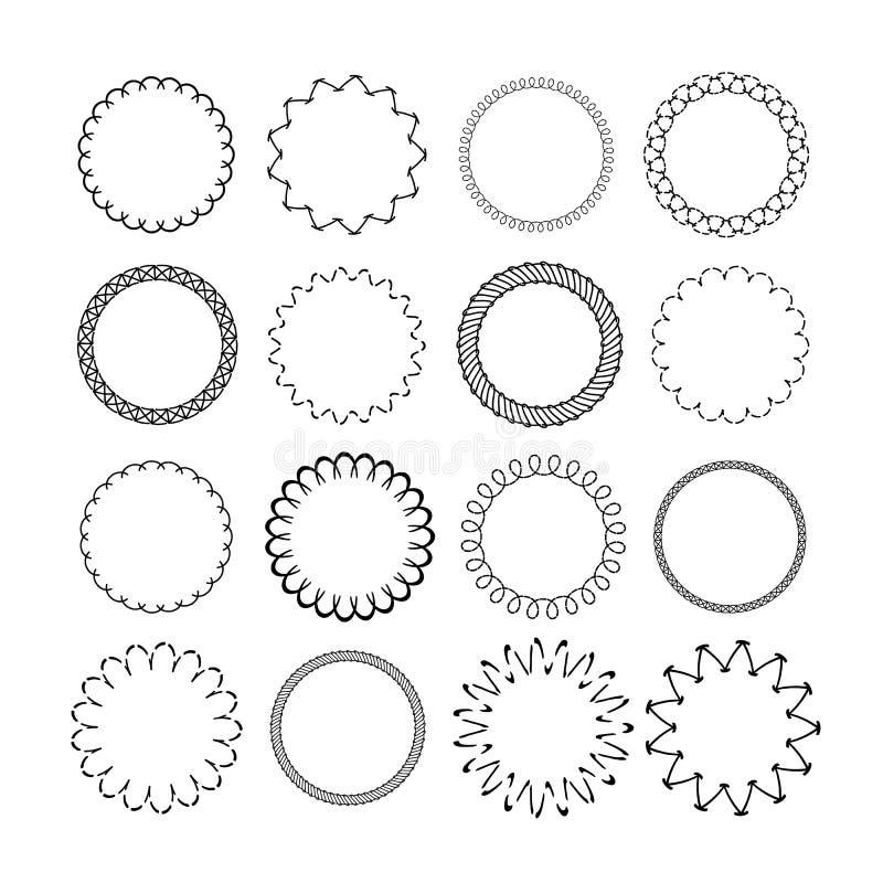 Runda gränser för prydnad Grafiska dekorativa rundade runda ramar för tappning Svart många cirkelramuppsättning stock illustrationer