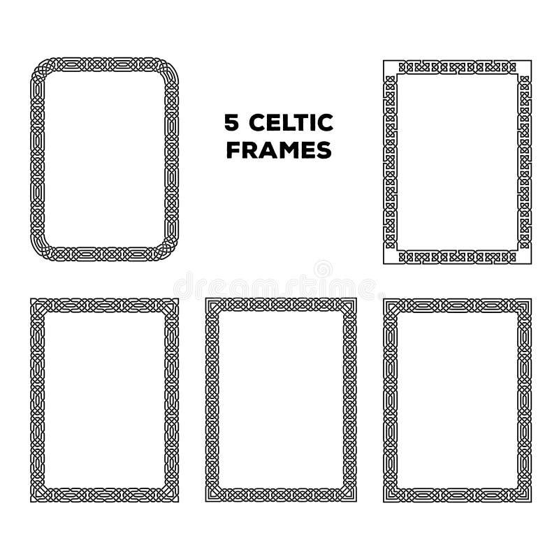 Runda keltiska ramar royaltyfri illustrationer