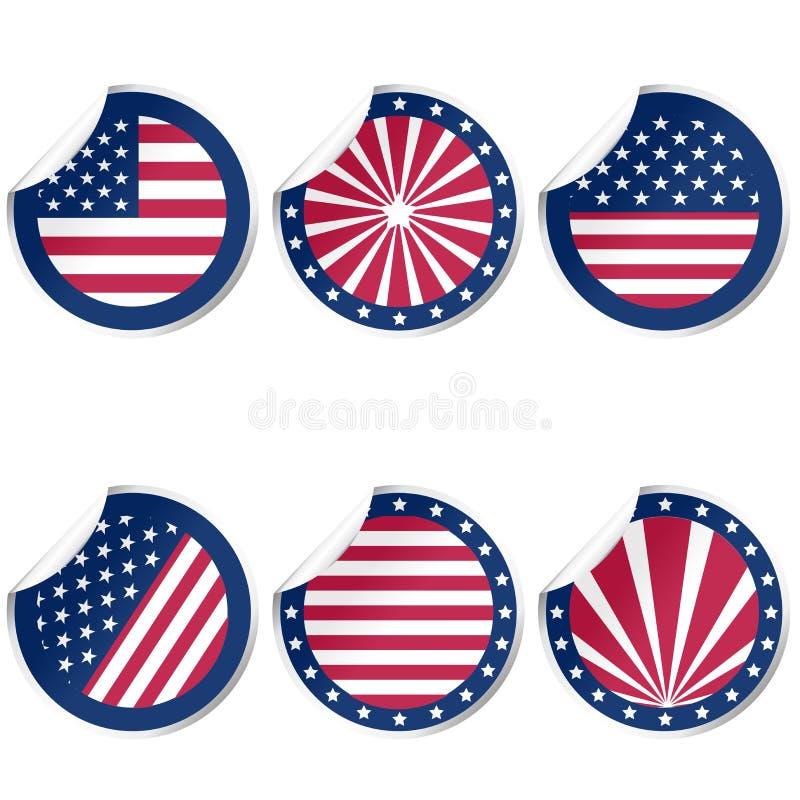 Runda klistermärkear med USA flaggan royaltyfri illustrationer