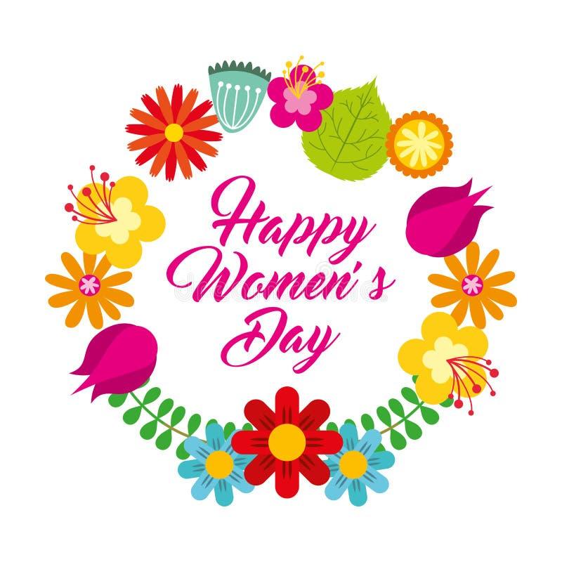 Runda kvinnors för blom- delikat kort för ram lyckliga dag stock illustrationer