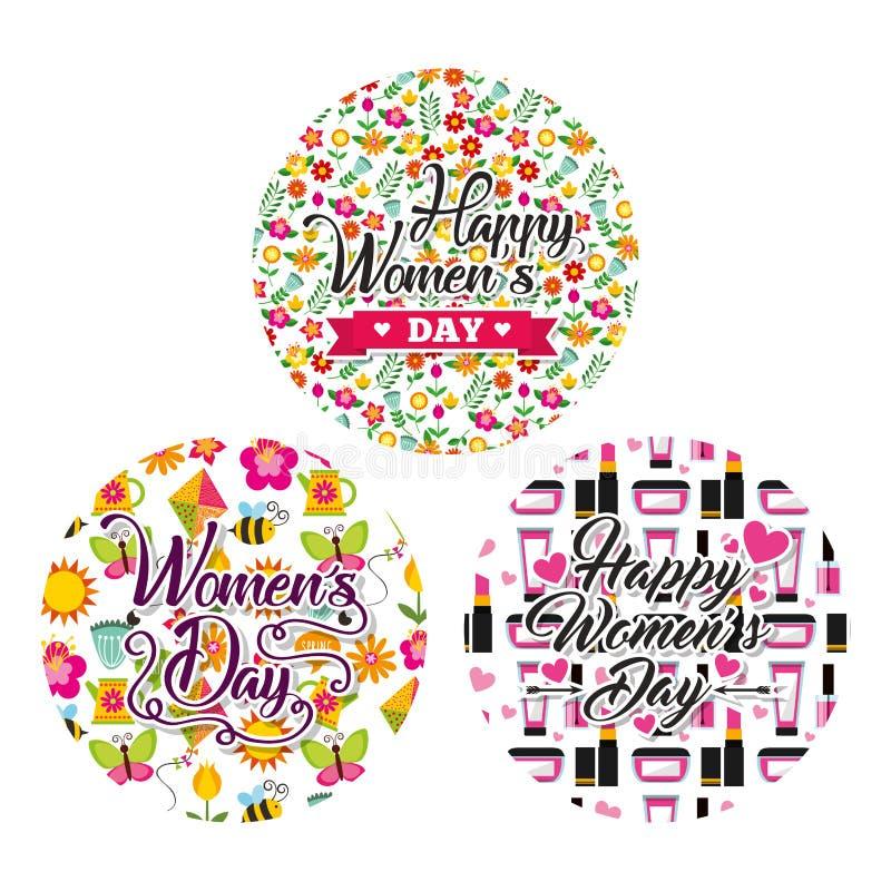 Runda kvinnors för smink för etikettgarnering blom- beröm för dag stock illustrationer