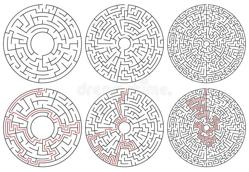 Runda labyrinter version 3 med olik komplexitet stock illustrationer