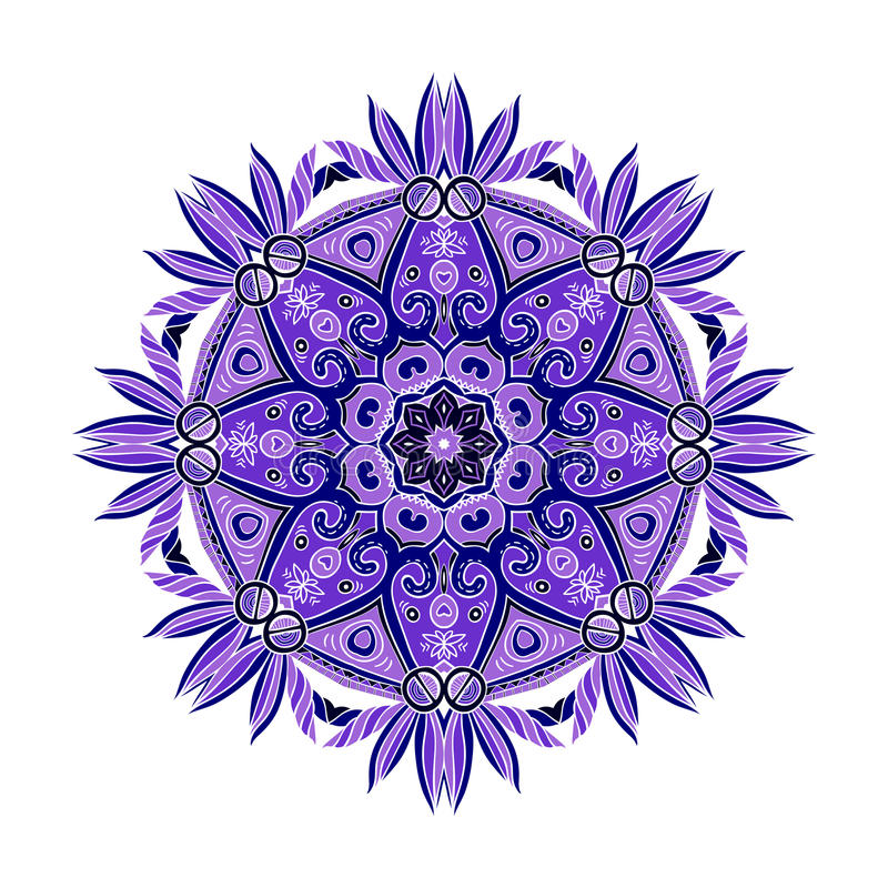 Runda Mandala Color 3 vektor illustrationer