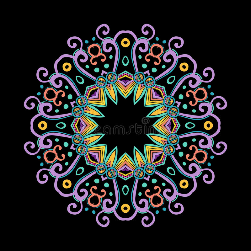 Runda Mandala Color Dark royaltyfri illustrationer