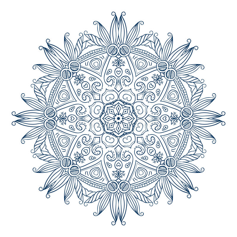 Runda Mandala Monochrome 2 vektor illustrationer