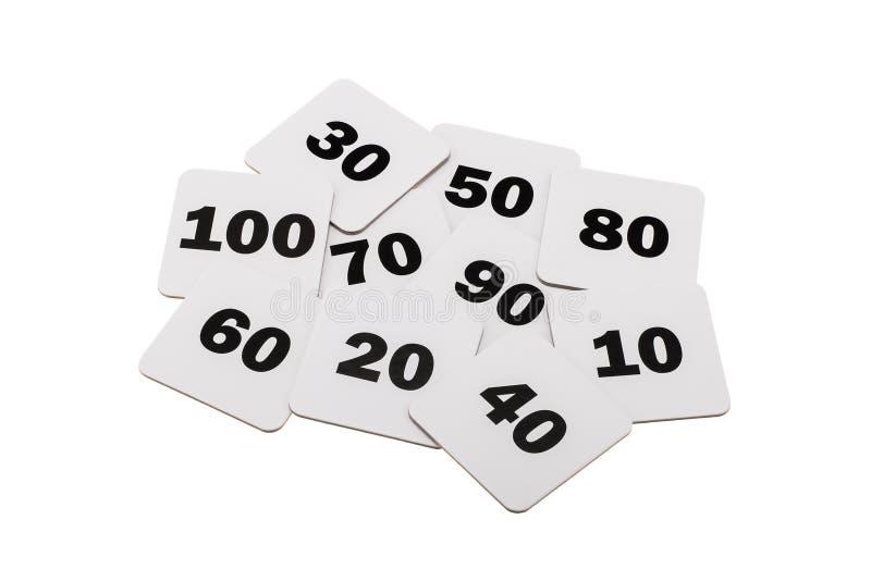 Runda nummer som isoleras över vit arkivfoto