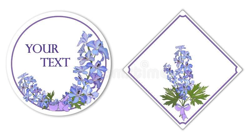 Runda och fyrkantiga kort med en bukett av blommariddarsporren vektor stock illustrationer