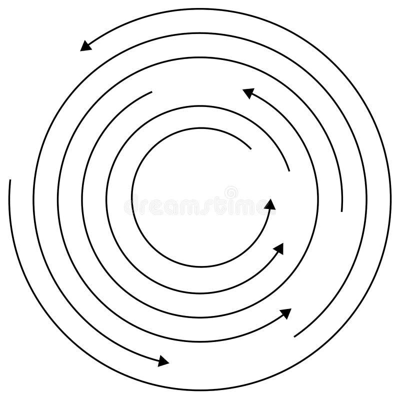 Runda pilar - slumpmässiga koncentriska cirklar med pilar för twis stock illustrationer