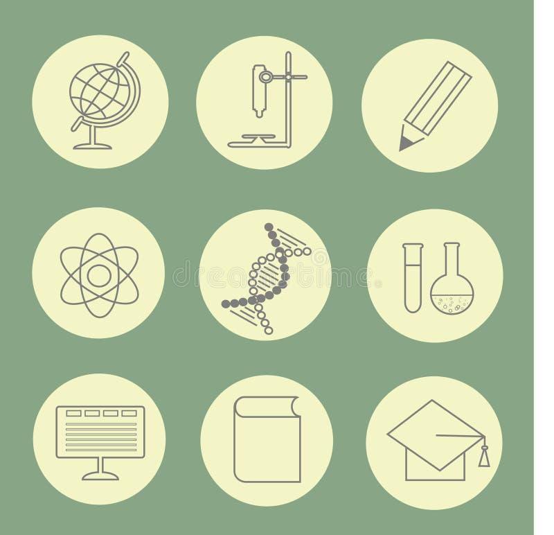 Runda retro symboler för utbildning, grå färgkonturer på smutsig vit, grön bakgrund för pastell stock illustrationer
