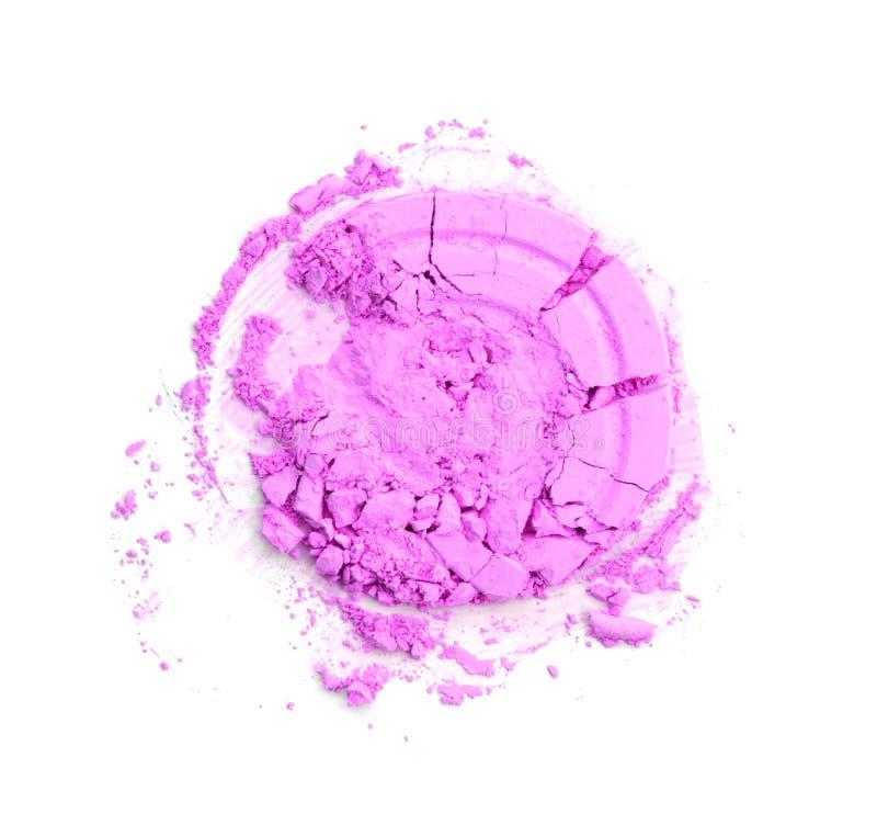 Runda rosa färger kraschat pulver för smink som prövkopian av skönhetsmedelprodukten som isoleras på vit bakgrund royaltyfri bild