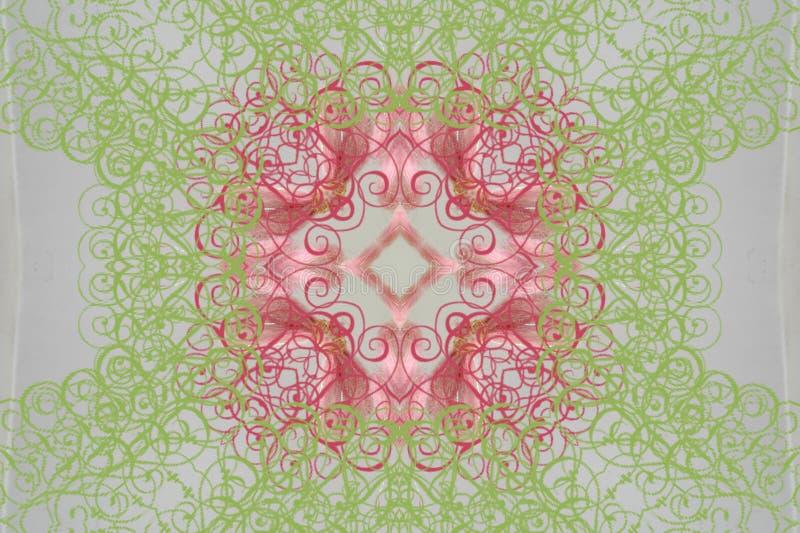 Runda rosa färger med den gröna prydnaden (mandala, kalejdoskopet) royaltyfri illustrationer