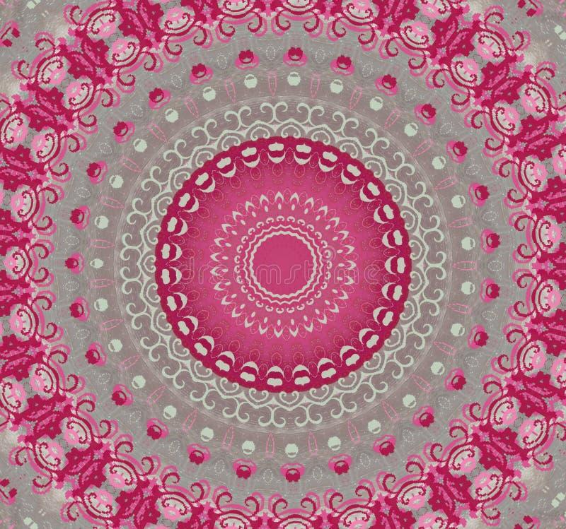 Runda rosa färger med grå färgprydnaden (mandala, kalejdoskopet) stock illustrationer