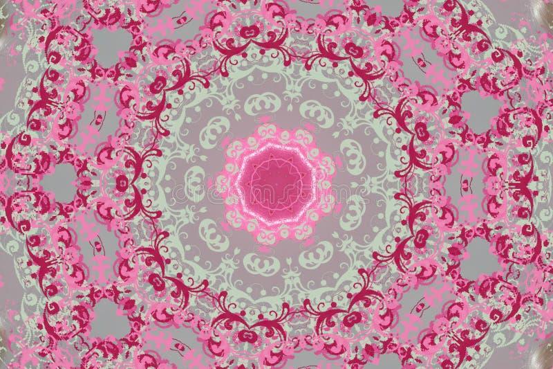 Runda rosa färger med grå färgprydnaden (mandala, kalejdoskopet) royaltyfri illustrationer