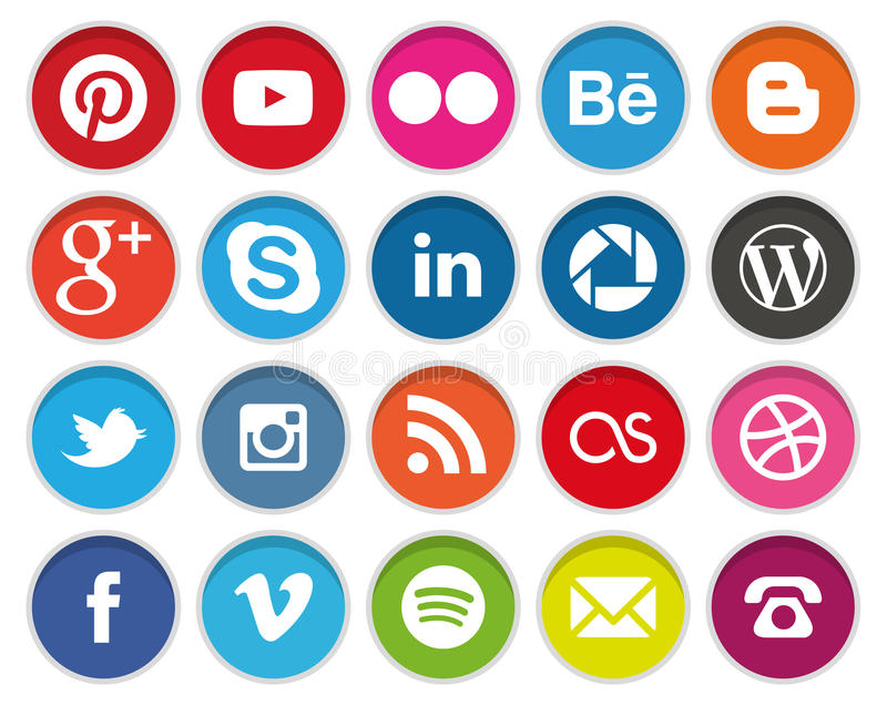 Runda sociala massmediasymboler stock illustrationer
