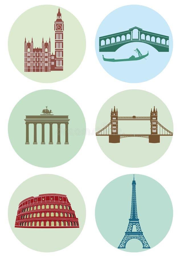 Runda symboler av europeiska huvudstäder royaltyfri illustrationer