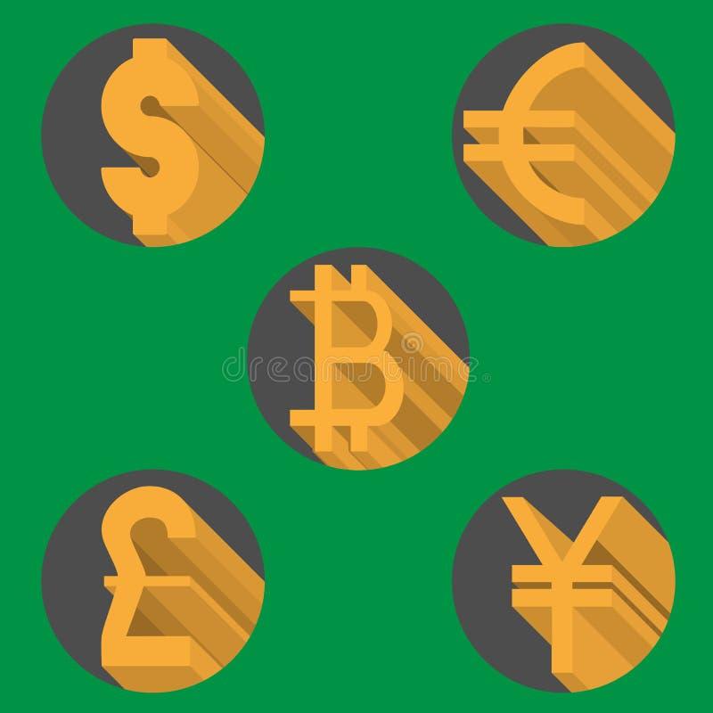 Runda symboler av mest populär världsvaluta - dollar-, euro-, pund-, yen- och bitcoinsymboler stock illustrationer