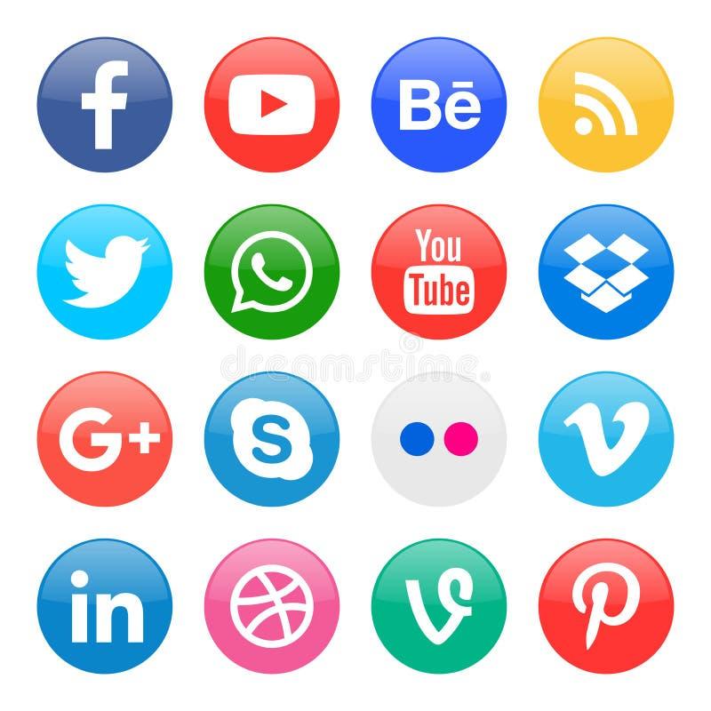 runda symboler för socialt massmedia vektor illustrationer