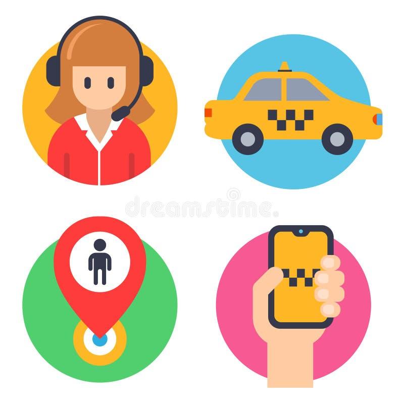 Runda symboler f?r taxi operat?r bil, hand med telefonen som landar fl?cken stock illustrationer