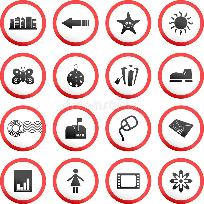 runda tecken för väg stock illustrationer