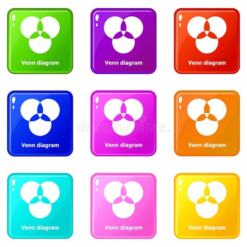 Runda venndiagramsymboler ställde in samlingen för 9 färg stock illustrationer
