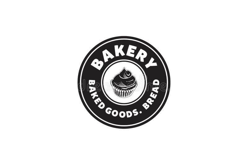 Rundad etikett, muffin, bagerilogo stock illustrationer