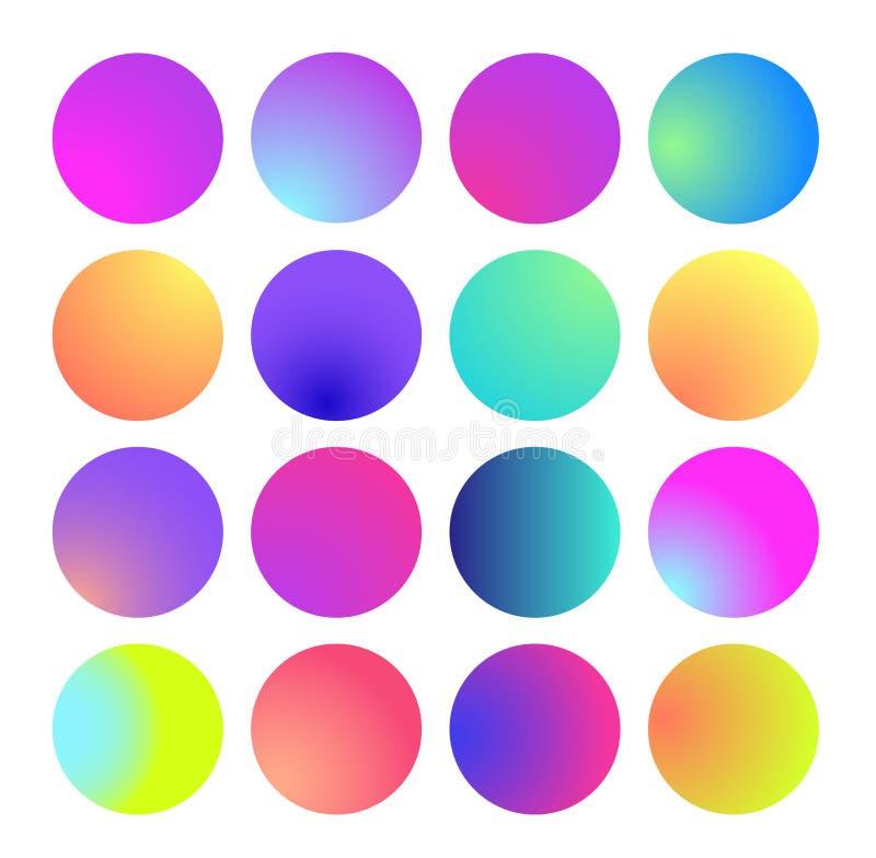 Rundad holographic lutningsfär För vätskecirkel för flerfärgad grön purpurfärgad gul apelsin som rosa cyan lutningar är färgrika vektor illustrationer