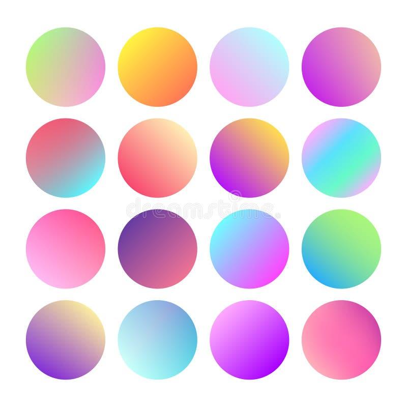 Rundad holographic lutningsfärknapp Flerfärgade gröna lilor gulnar orange rosa cyan fluid cirkellutningar stock illustrationer