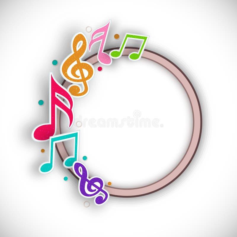 Rundad ram med musikaliska anmärkningar stock illustrationer