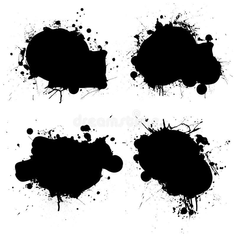 rundad splat för svart färgpulver royaltyfri illustrationer