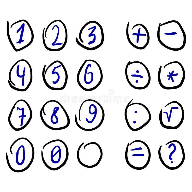 Rundade decimal- siffror klottrar skissar vektor illustrationer