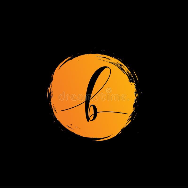 Rundade det Calligraphic alfabetet för bokstav b vektorlogodesigner vektor illustrationer