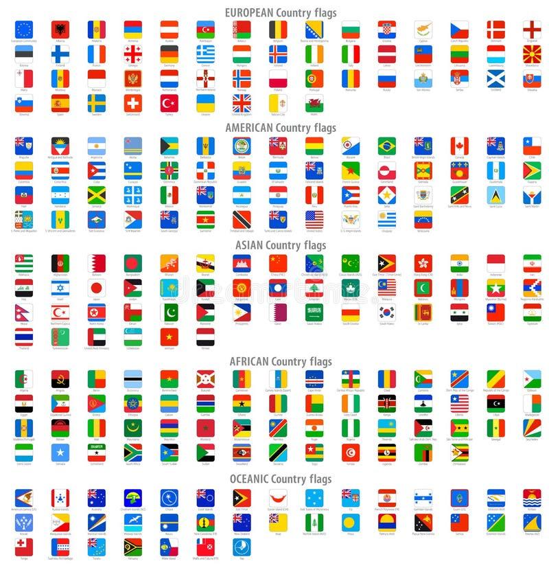 Rundade fyrkantiga vektornationsflaggasymboler royaltyfri illustrationer