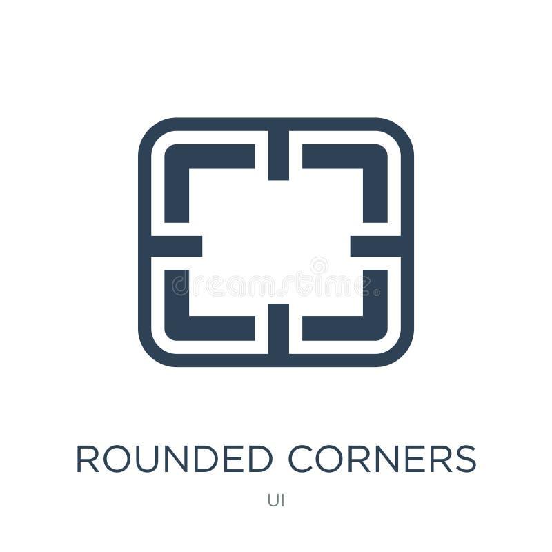 rundade hörn kvadrerar symbolen i moderiktig designstil rundade hörn kvadrerar symbolen som isoleras på vit bakgrund Rundade hörn royaltyfri illustrationer