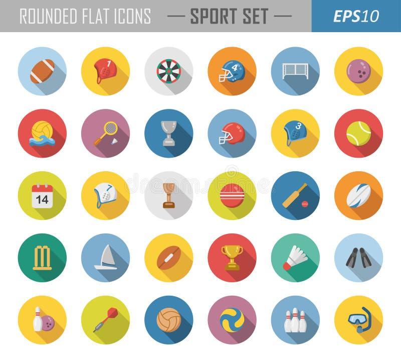 Rundade plana sportsymboler stock illustrationer