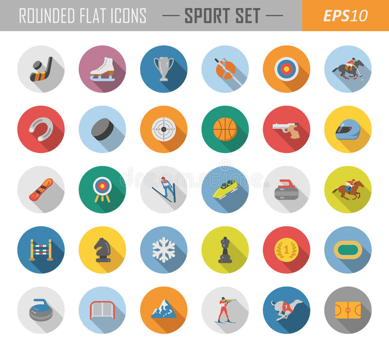 Rundade plana sportsymboler royaltyfri illustrationer
