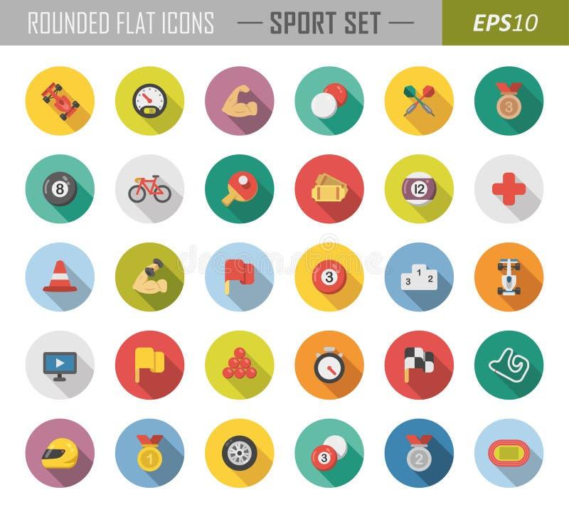 Rundade plana sportsymboler vektor illustrationer