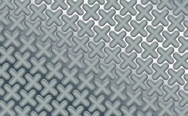 Rundade tredimensionella objektpluses på den polerade arkkromen, bakgrund Tekniskt avancerat bearbeta för metall Abstrakt begrepp royaltyfri illustrationer