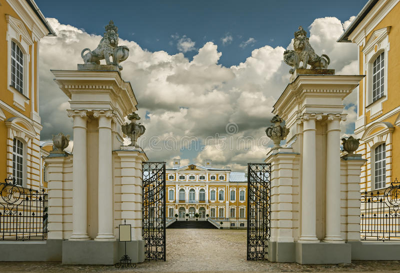 RUNDALE, LATVIA - SEPTEMBER 15, 2013: The public governmental museum - Rundale palace (Latvia) was established by Russian monarch. Today, the palace is one of royalty free stock photography