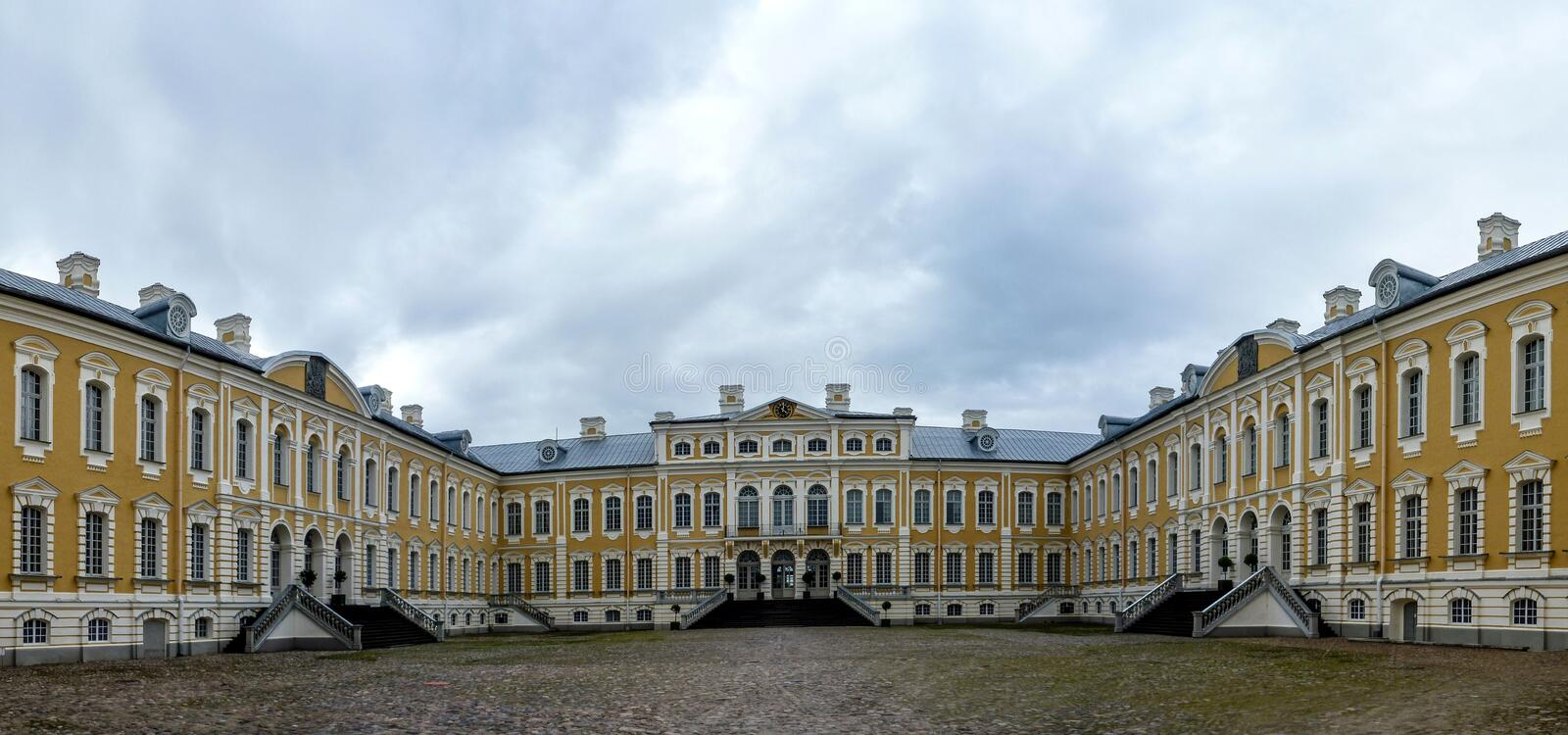 Rundale Latvia Europe.The palace was built in the 1730 to design by Bartolomeo Rastrelli as a summer residence for Biron the Duke. Rundale Palace is the most stock photography