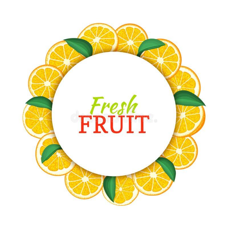 Rundan färgade ramen som komponerades av läcker tropisk orange frukt Vektorkortillustration Citrus apelsinram för cirkel royaltyfri illustrationer