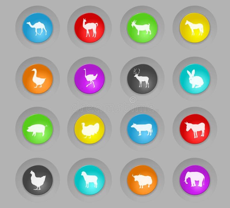 Rundan för plast- för lantgårddjur knäppas den färgade symbolsuppsättningen stock illustrationer