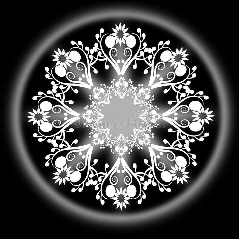 Rundan smyckar bw vektor illustrationer